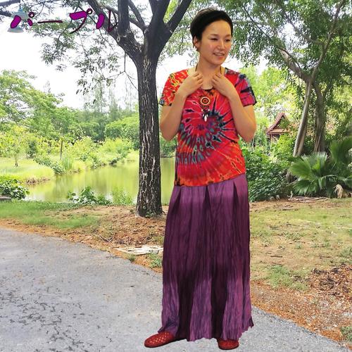 レーヨンしわっしわっマキシ スカート