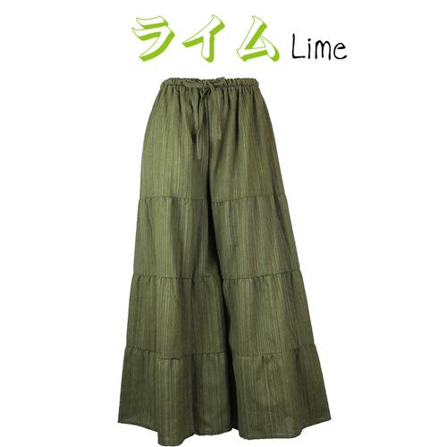 Men&Womenコットン100%LINE織り ボブ!超ワイド ガウチョパンツ