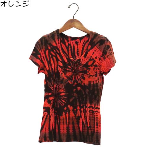 レーヨン100%Lady&Manタイダイ柄エスニックTシャツ―sizeL-